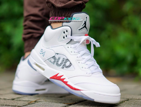 Air Jordan 5 x Supreme NYC 94 White Red pas cher
