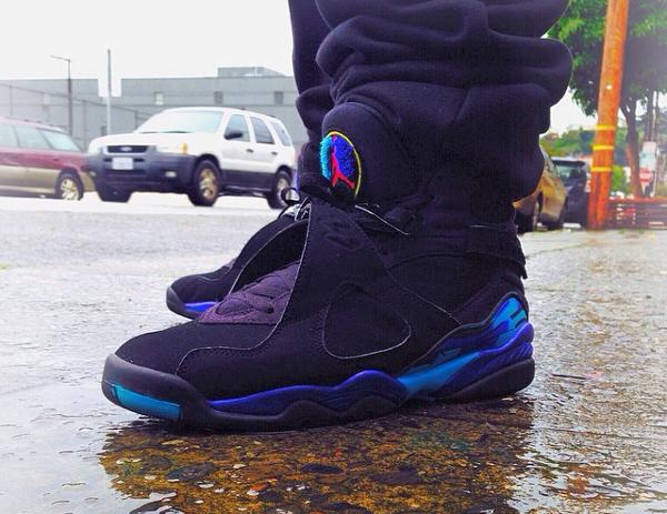 porter la Air Jordan 8 Retro Aqua - @rudaayyee47