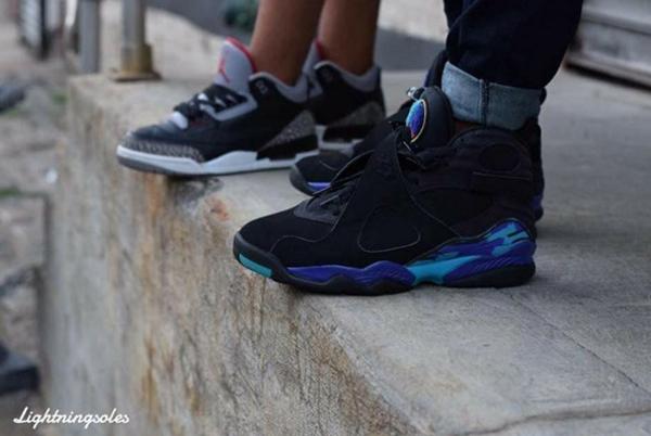 Jeans pinroll Air Jordan 8 Aqua - @lightningsoles
