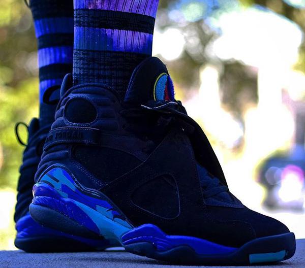 Longues chaussettes Air Jordan 8 Aqua - @djbluiz (2)