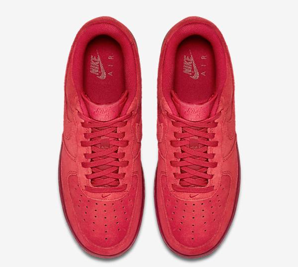 Nike Air Force 1 basse en daim rouge homme (6)