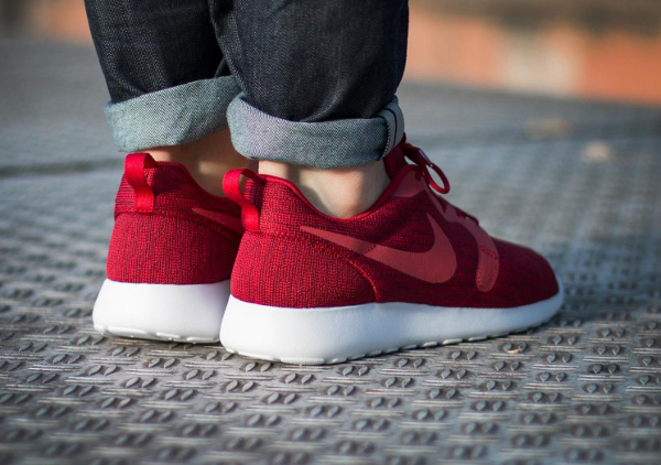 Nike Roshe Run Jacquard Gym Red pas cher (2)