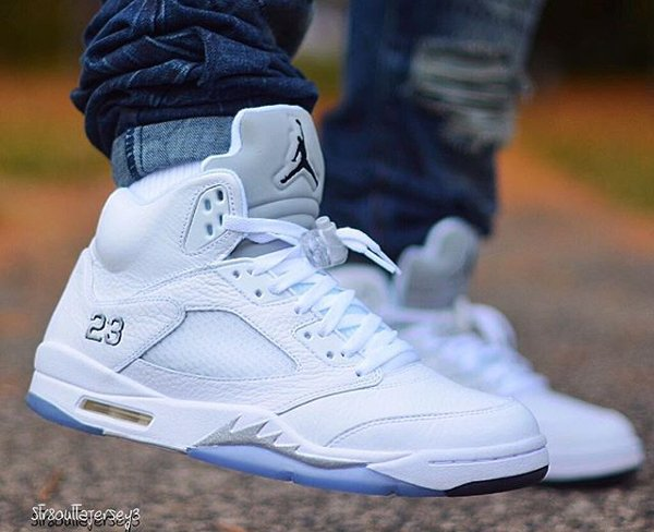 Air Jordan 5 White Metallic Silver 2015 - @str8outtajersey