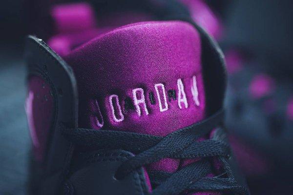 Basket Nike Air Jordan 7 Black Fuchsia Glow Mulberry Wolf Grey (femme) (2-1)