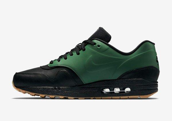 Basket Nike Air Max 1 verte et noire avec semelle gomme (7)
