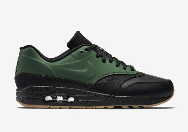 Basket Nike Air Max 1 verte et noire avec semelle gomme (8)