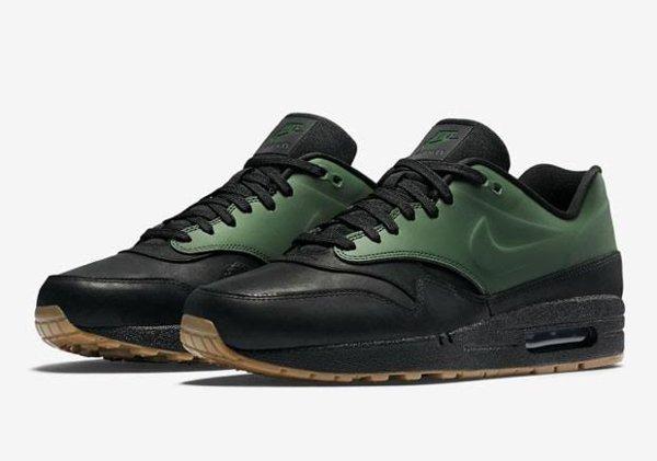 Basket Nike Air Max 1 verte et noire avec semelle gomme (9)