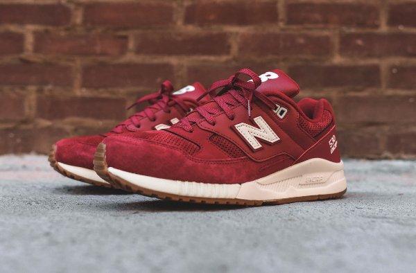 New Balance M530AAF Running 90's Solid cuir et suède rouge avec semelle gomme (5)