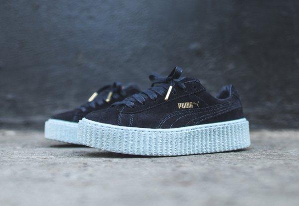 Puma Suede Creepers x Rihanna daim noir et semelle bleue (5)