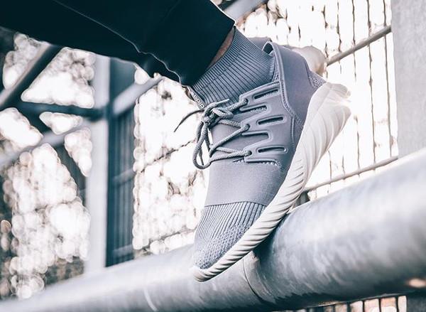 Adidas Tubular Doom Primeknit Solid Grey pas cher (1)