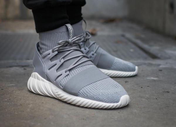 Adidas Tubular Doom Primeknit Solid Grey pas cher (3)
