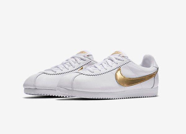 Nike Cortez QS White Metallic Gold (1)