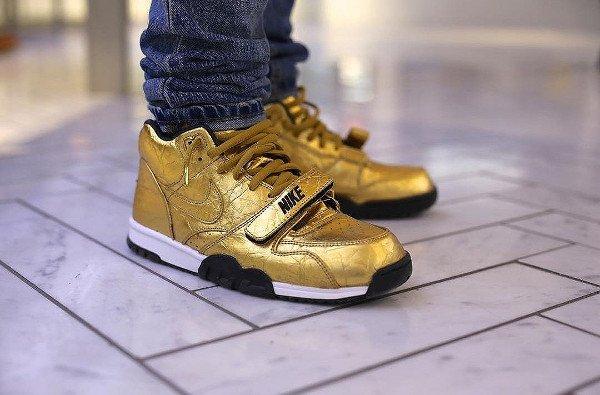 acheter Nike Air Trainer 1 Mid PRM Gold Superbowl 50 pas cher (1)
