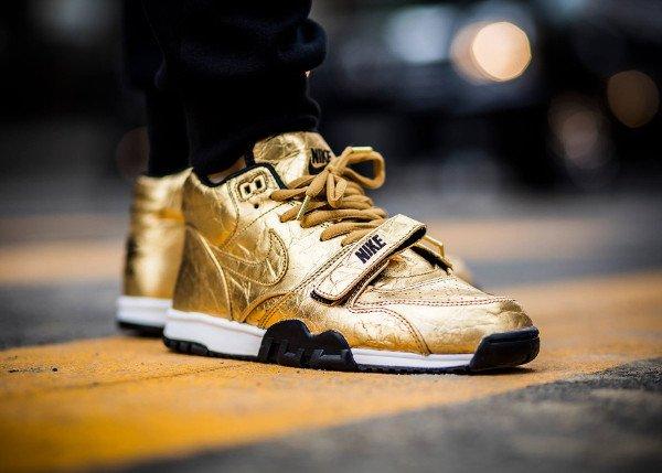 acheter Nike Air Trainer 1 Mid PRM Gold Superbowl 50 pas cher (3)