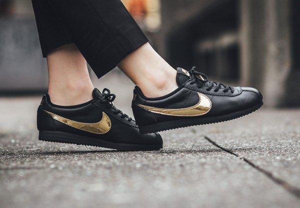 acheter Nike Cortez QS Black Gold Swoosh pas cher (2)
