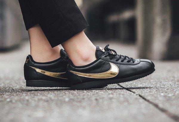 acheter Nike Cortez QS Black Gold Swoosh pas cher (3)