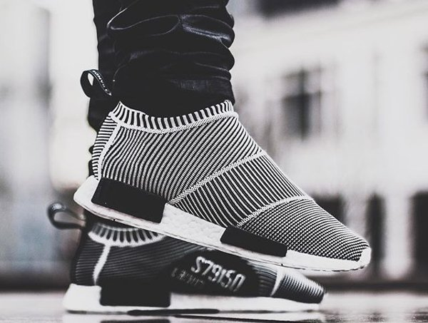 Adidas NMD CS1 City Sock Primeknit Boost Black White pas cher (1)