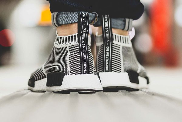 Adidas NMD CS1 City Sock Primeknit Boost Black White pas cher (3)