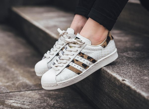 vente chaude en ligne f3845 99535 Adidas Superstar 80's Animal Croc Leopard Chalk White/Core Black
