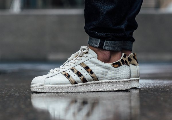 Adidas Superstar 80s Animal Croc Leopard Chalk White homme (1)