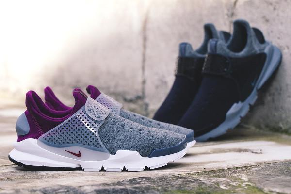 Gros plan sur les Nike Sock Dart Tech Fleece Gris Noir