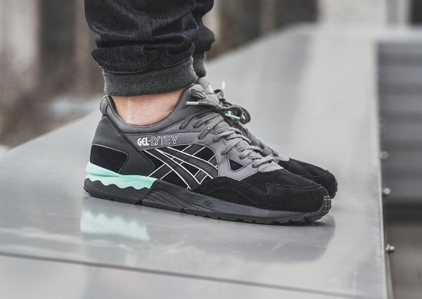 low priced ef01c 5b475 basket Asics Gel Lyte V Suede Casual Lux Black Turquoise pas cher (2)