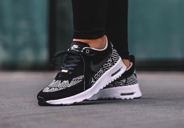 Women's Nike Air Max Thea Black White On feet Video at Exclucity