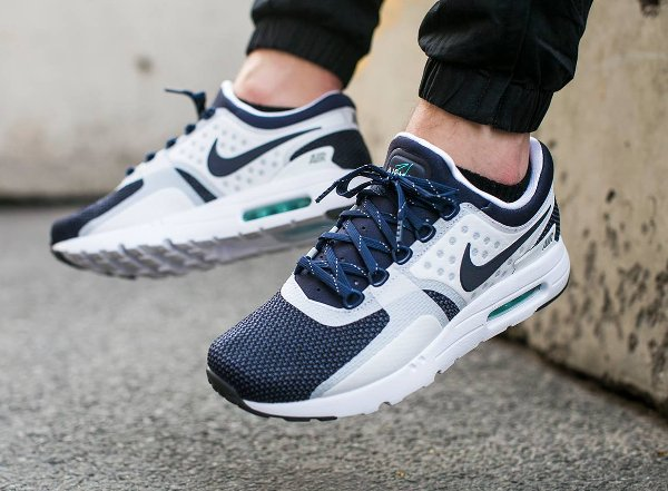basket Nike Air Max Zero White Midnight Navy QS pas cher (4)