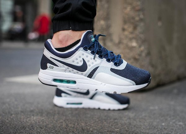 basket Nike Air Max Zero White Midnight Navy QS pas cher (5)