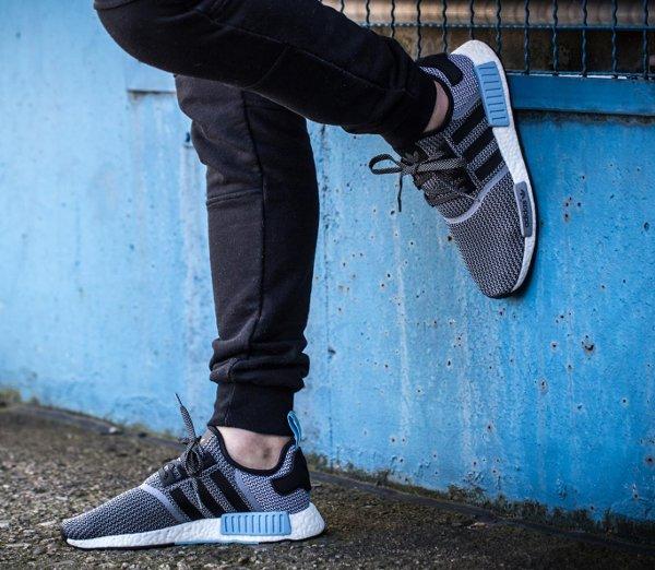 Adidas NMD R1 Boost Knit 'Tonal' Black Lush Red & Clear Blue