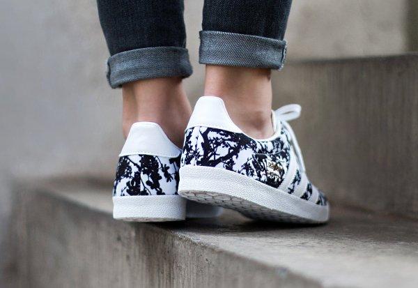 Adidas Gazelle OG W Print floral Black White (2)
