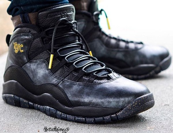 Basket Air Jordan 10 Retro New York Black Grey Gold (City Pack 2016) (1)