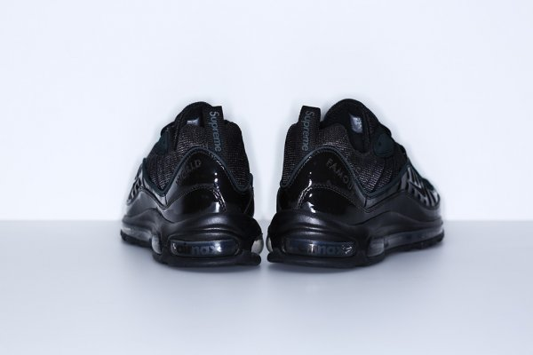 Chaussure Supreme x Nike Air Max 98 Black Black-Black (5)