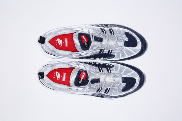 Chaussure Supreme x Nike Air Max 98 ( Obsidian Obsidian-Reflect Silver-White) (3)
