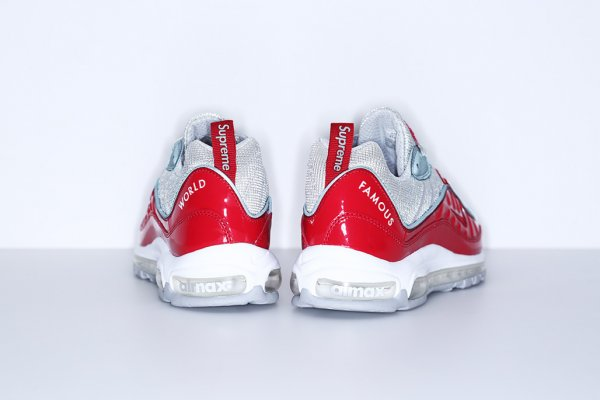 Chaussure Supreme x Nike Air Max 98 Red Reflect Silver-White Varsity Red (3)