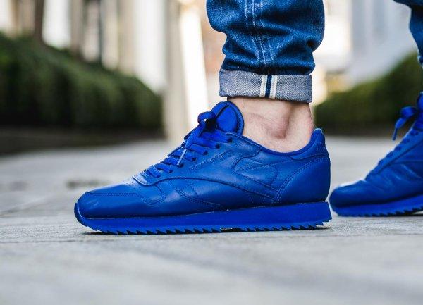 basket Reebok CL Leather Ripple Mono Blue (bleue) (3)