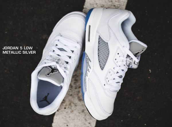 nouveau concept be561 20c80 Nike Air Jordan 5 Retro Low GG White Wolf Grey (femme)
