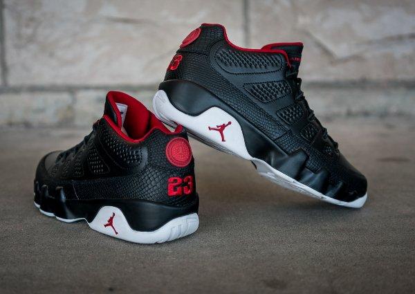 chaussure Air Jordan 9 Retro Low Black White Gym Red (2)