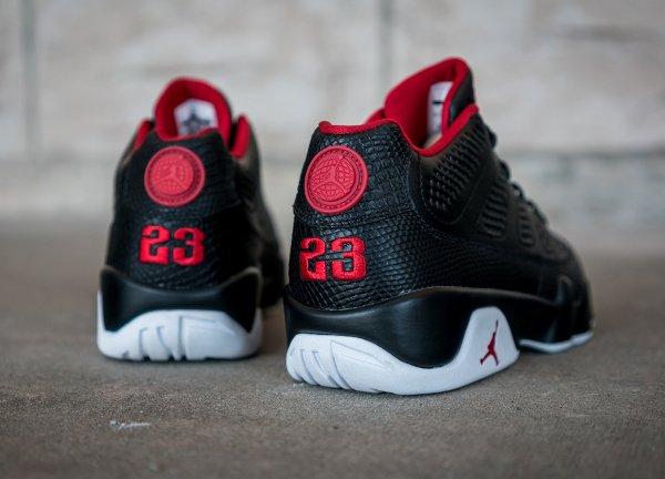 chaussure Air Jordan 9 Retro Low Black White Gym Red (4)