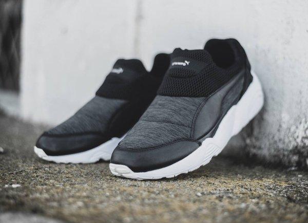 chaussure Stampd x Puma Trinomic Sock sans disc grise et noire (1)
