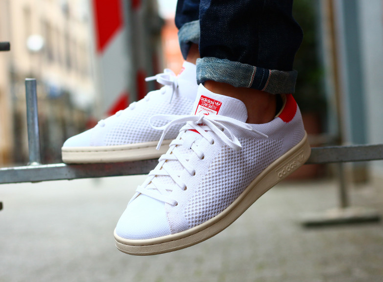 Basket Adidas Stan Smith Primeknit OG PK (White Chalk Red) (1)