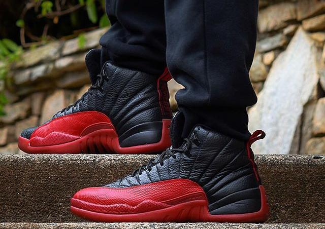 Basket Air Jordan 12 Flu Game Black Red Retro 2016 (2)