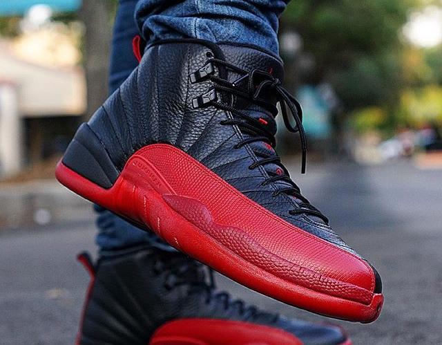 Basket Air Jordan 12 Retro Flu Game 'Black Red' 2016 (4)