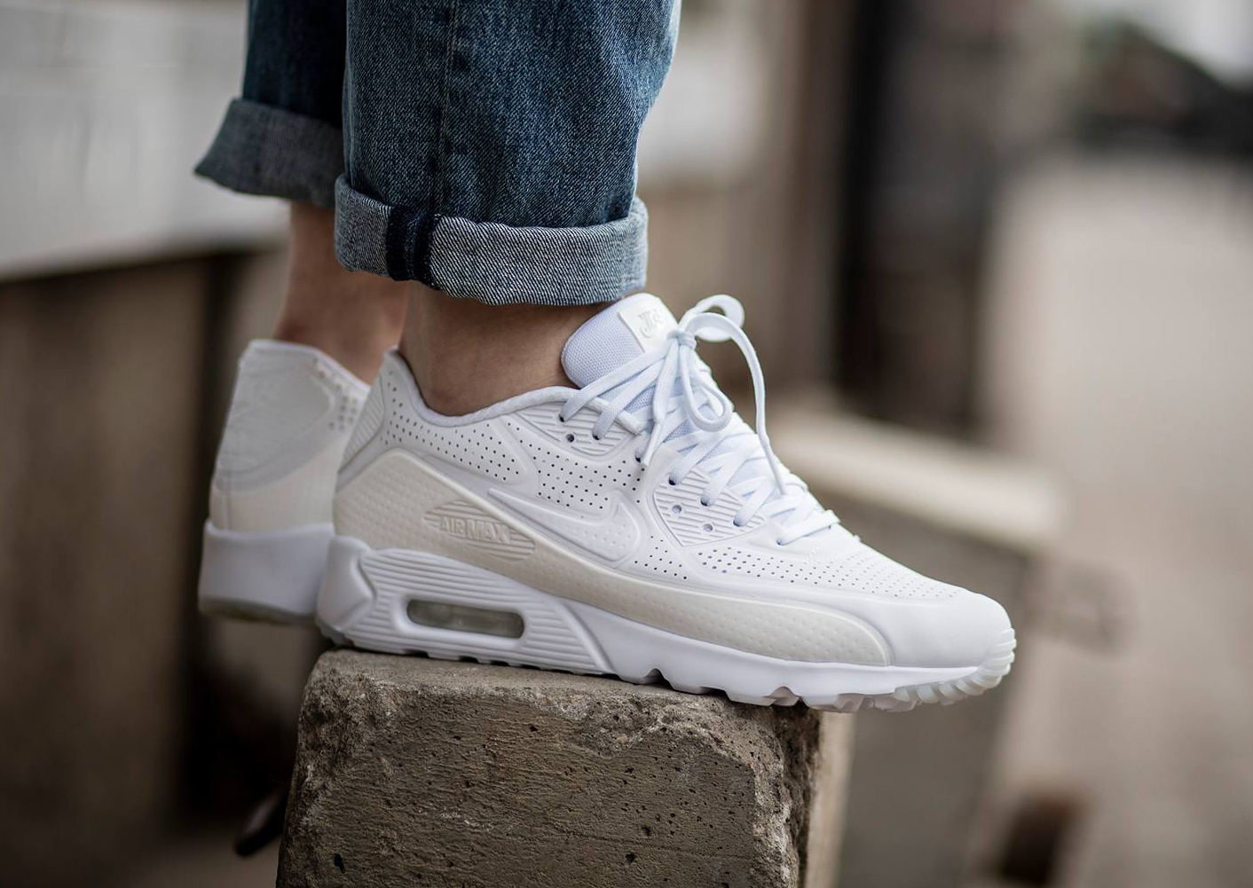 nike air max 90 ultra moire 39 triple white 39 blanche. Black Bedroom Furniture Sets. Home Design Ideas