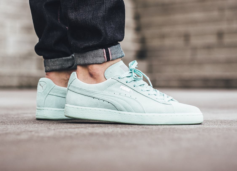 Basket Puma Suede Classic Mono Ref Iced Mint Bay Silver Puma (homme) (1)