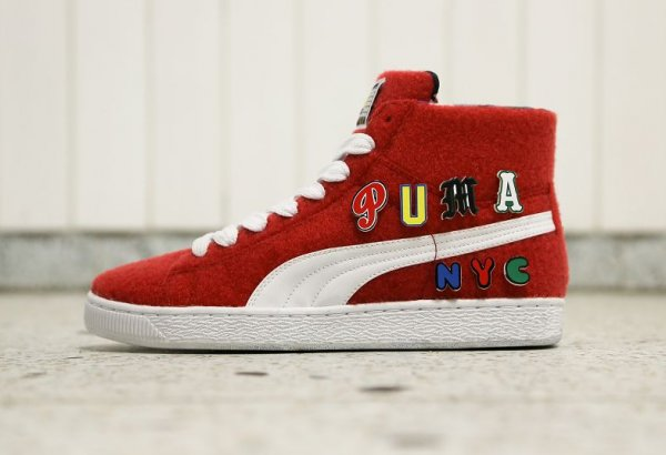 Chaussure Dee & Ricky x Puma Basket Mid Ribbon Red (rouge) (1)
