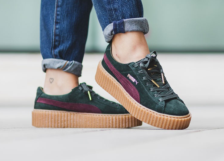 new arrival cf559 83790 Fenty by Rihanna x Puma Creepers 'White, Black/Satin & Green ...