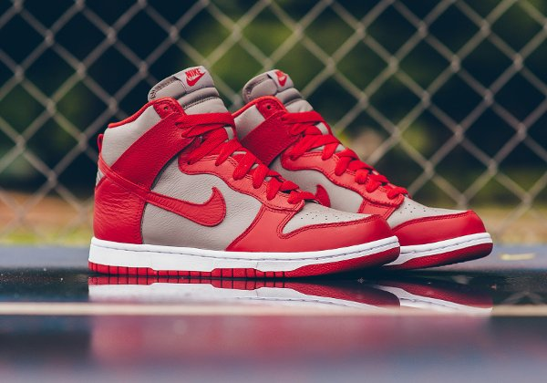 Chaussure Nike Dunk High Retro 'UNLV' (Soft Grey University Red) (1)