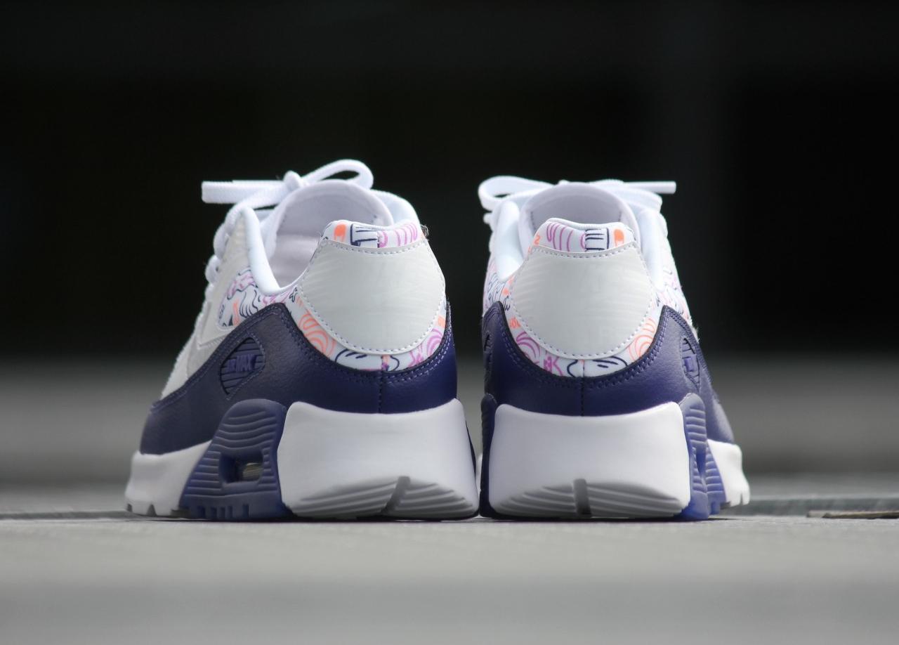 Chaussure Nike Wmns Air Max 90 Ultra Print 'White Dark Purple' (4)