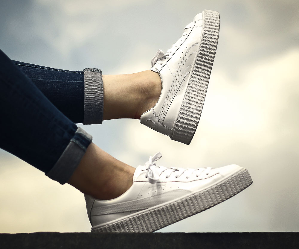 new arrival ee70a 6f66e Fenty by Rihanna x Puma Creepers 'White, Black/Satin & Green ...